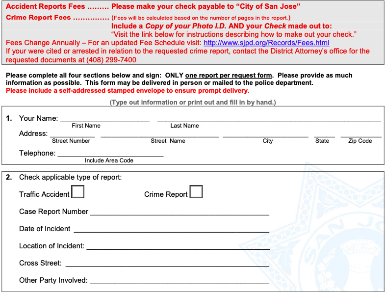 Accident Police Report Template