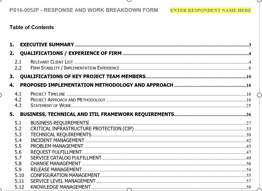 RFP Response with TOC