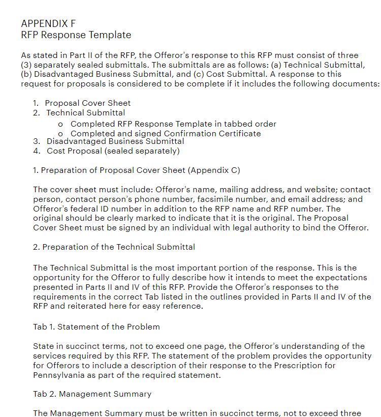rfp response template doc
