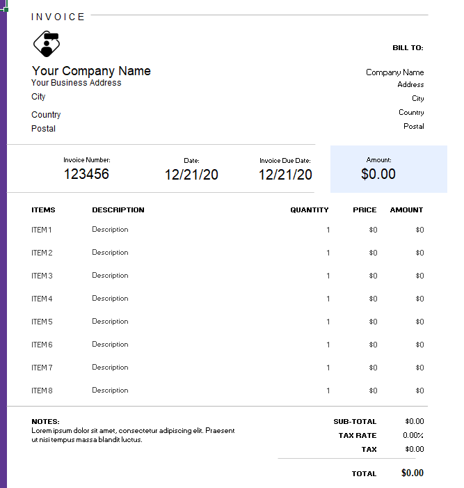 Detailed Consulting Invoice Template