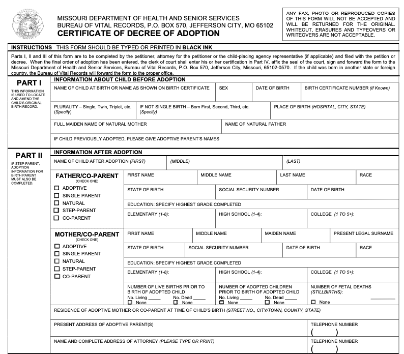 Formal Adoption Certificate Template