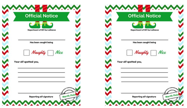 elf on the shelf official note