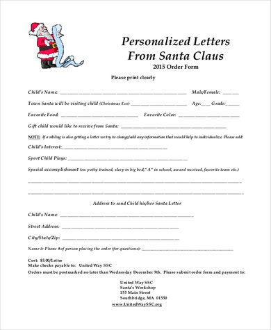Personalized letter from desk of Santa