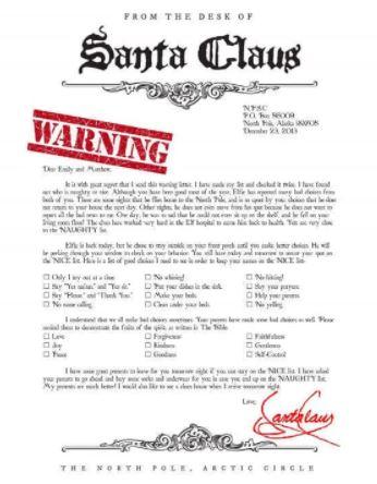 Santa warning letter