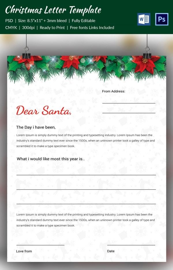 Customizable santa letterhead for Christmas