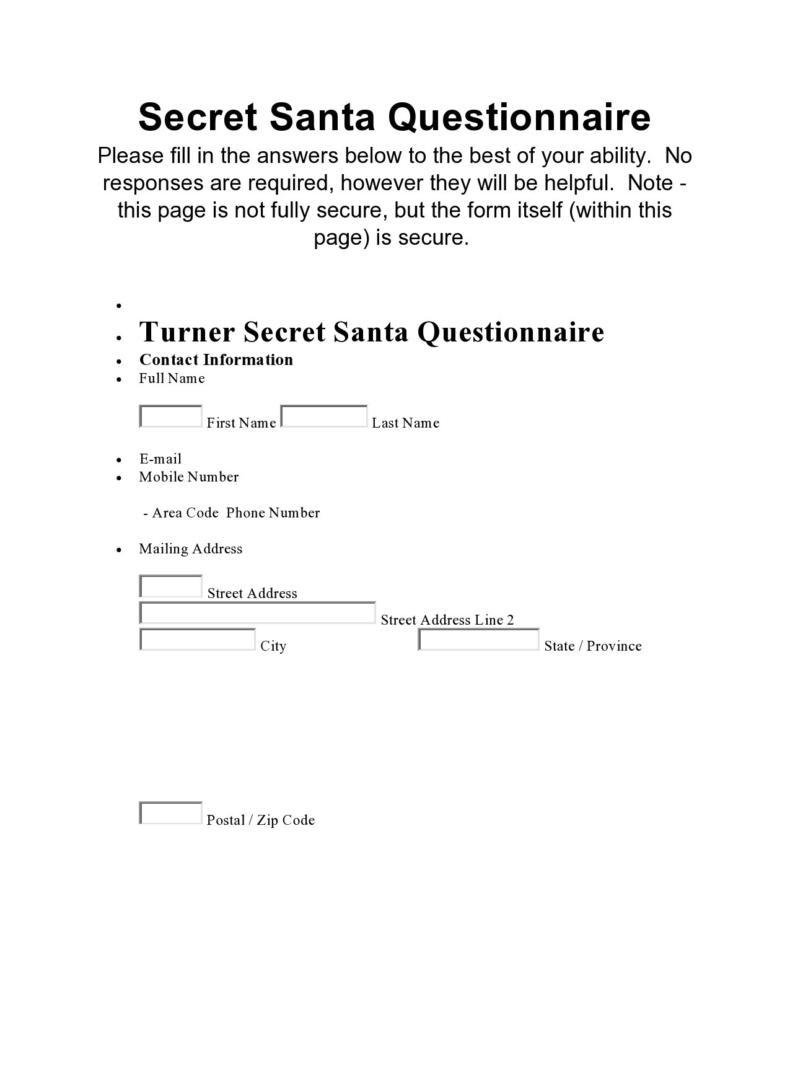 Secret Santa form DOC
