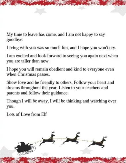 Elf goodbye letter DOC