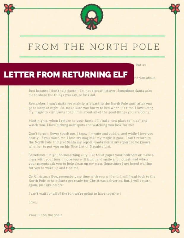 Letter from returning Elf