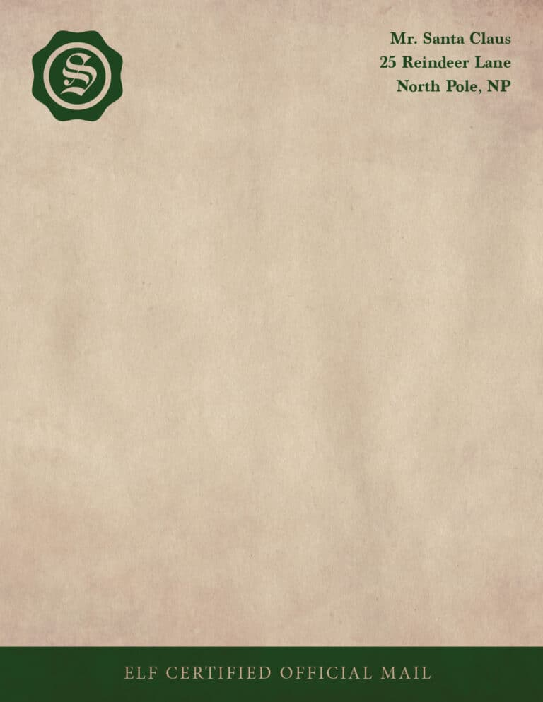 Conventional letterhead from North Pole