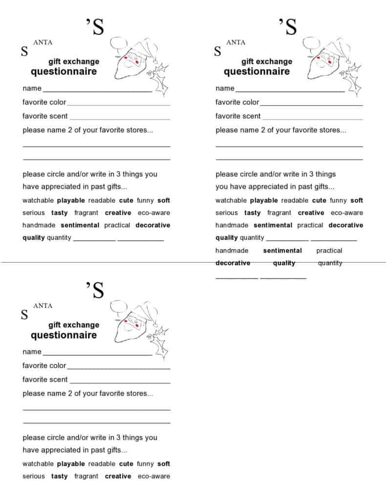 santa Gift exchange questionnaire